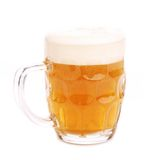 Mug fresh beer with cap of foam isolated Royalty Free Stock Image