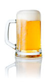 Mug Fresh Beer With Cap Of Foam Isolated On White Stock Photography
