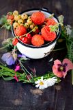 Mug with fresh berries Royalty Free Stock Images
