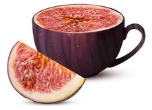 Mug of fresh figs fruit and slice. Isolated on white background. Clipping Path. Full depth of field Stock Photo