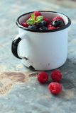 Mug with fresh fruits Stock Photos