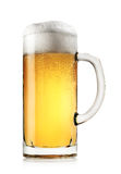 Mug of fresh light beer with foam Royalty Free Stock Images