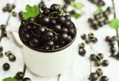 Mug of fresh ripe sweet blackcurrants stock photo