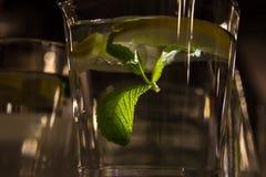 A mug of fresh water with lemon. A big mug of fresh transparent water with lemon and mint leaves Stock Images