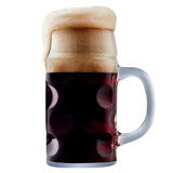 Mug of frosty dark beer with foam. Isolated on a white background Stock Images