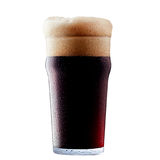 Mug of frosty dark beer with foam. Isolated on a white background Stock Image