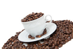 The mug is full of coffee beans Stock Image