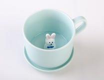 mug or handmade animal ceramic mug on background. Royalty Free Stock Photography