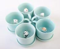 mug or handmade animal ceramic mug on background. Stock Image