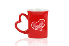 Mug with heart write love isolated Royalty Free Stock Photo