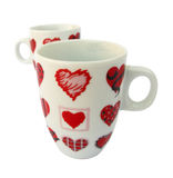 Mug with hearts of love Stock Images