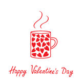 Mug with hearts and steam. Happy Valentines day ca Stock Images