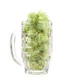 Mug of hop flowers. Stock Photos