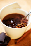 Mug of hot chocolate with cinnamon Stock Photo
