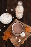 Mug of hot chocolate or cocoa with Christmas cookies and marsmal. Low on dark wooden background Royalty Free Stock Photography