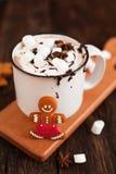 Mug of hot chocolate or cocoa with Christmas cookies and marsmal Royalty Free Stock Photo