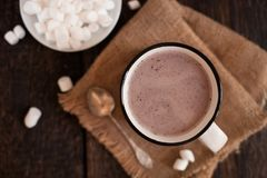 Mug of hot chocolate or cocoa with marsmallow