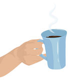 A mug of hot chocolate in hand Royalty Free Stock Photography