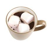 Mug of hot chocolate with marshmallows. Isolated royalty free stock image