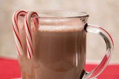 Mug of Hot Chocolate with Peppermint Candy Canes. Christmas mug of hot chocolate with candy canes Royalty Free Stock Photos