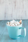 Mug of Hot Chocolate with Peppermint Stick Stock Photos