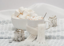 Mug Of Hot Chocolate With Scarf. Marshmallows And Stock Images