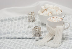 Mug Of Hot Chocolate With Scarf. Marshmallows And Royalty Free Stock Photos