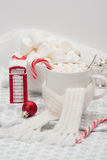 Mug Of Hot Chocolate With Scarf. Marshmallows And Stock Image