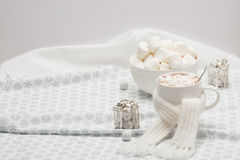 Mug Of Hot Chocolate With Scarf. Marshmallows And Royalty Free Stock Photography