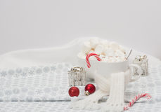 Mug Of Hot Chocolate With Scarf. Marshmallows And Royalty Free Stock Photo