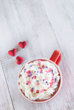 Mug of Hot Chocolate and Valentine Hearts Royalty Free Stock Photos