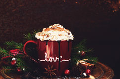 Mug of hot chocolate with whipped cream Royalty Free Stock Image