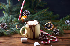 Mug with hot chocolate wooden table Stock Image