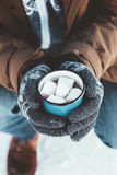 Mug with hot drink in male hands in winter. Closeup photo of tin mug with cocoa and marshmallows in male hands in mittens. Traveller in warm clothing drinking Royalty Free Stock Images
