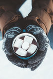 Mug with hot drink in male hands in winter. Closeup photo of tin mug with cocoa and marshmallows in male hands in mittens. Traveller in warm clothing drinking Royalty Free Stock Photography