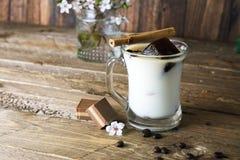 Mug of ice coffee with milk Royalty Free Stock Photos