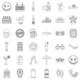 Mug icons set, outline style Royalty Free Stock Photo