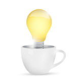 Mug and idea light bulb illustration design Royalty Free Stock Photography