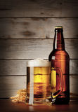 Mug of lager beer with a bottle Royalty Free Stock Photos