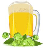 Mug of lager beer and green hops Stock Image
