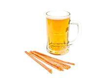 Mug of light beer and fish snack Royalty Free Stock Photo