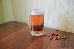 Mug of light foam beer with croutons Stock Images