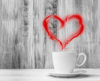 Mug lovers white cup heart shaped balloon wooden background Stock Photo