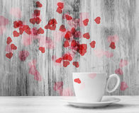 Mug lovers White cup  warm hearts wooden background Stock Photos
