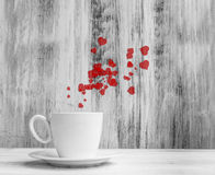 Mug lovers White cup  warm hearts wooden background Royalty Free Stock Photos