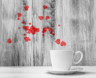 Mug lovers White cup  warm hearts wooden background Stock Photo