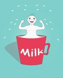 A mug of milk. A Boy Demonstrating the Strength After Drinking Milk Royalty Free Stock Photos