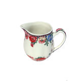 Mug of milk. Mug milk white, with floral decoration on white background Royalty Free Stock Photo