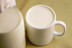 Mug with milk Stock Photo