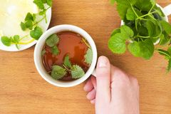 Mug of Mint tea with Melissa and lemon in hand. On wooden table Royalty Free Stock Photos